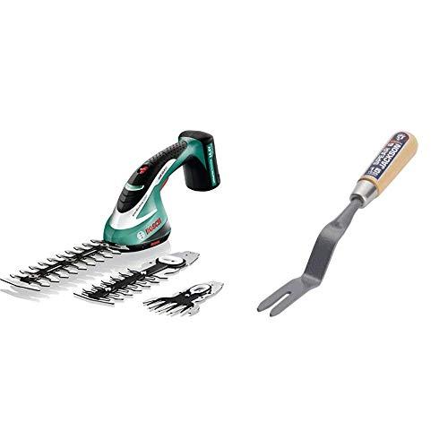 Bosch ASB 10,8 Li SET Tosaerba E Sfoltirami Con Batteria Al Litio, Nero/Verde + Spear & Jackson Neverbend Estirpatore in carbonio