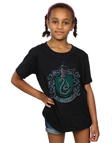 Harry Potter Mädchen Slytherin Distressed Crest T-Shirt 12-13 Years Schwarz