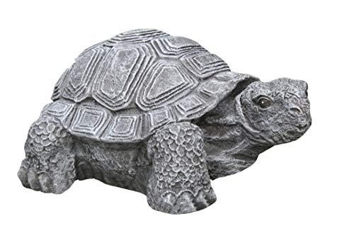Tiefes Kunsthandwerk Gartenfigur Schildkröte groß - Schiefergrau, Deko, Figur, Garten, Stein, frostsicher