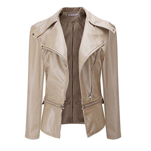 Damen Jacke ,Honestyi Damen Winter Warme Faux Kragen Kurzmantel Lederjacke Parka Jacke Outwear (M, Beige)