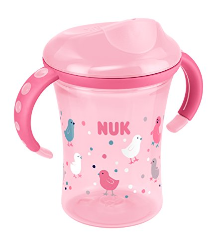 NUK 10255362 Easy Learning Trainer Cup, auslaufsicherer Trinkaufsatz, 230 ml, ab 8 Monate, Girl, rosa