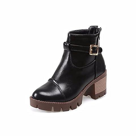 High heels, belt buckle, zipper, short boots, round head, Martin boots,black,35