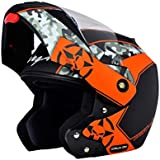 Vega Crux DX Full Face Helmet (Camouflage Dull Black and Orange, M)