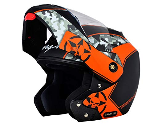 Vega Crux DX Full Face Helmet (Camouflage Dull Black and Orange, L)