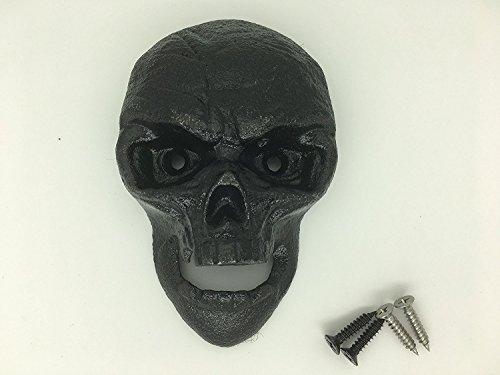 SWONVI Totenkopf Flaschenöffner, Gusseisen Wandhalterung Grizzly Totenkopf Schwarz Zähne Bite Flaschenöffner 4.6 inch * 2.9 inch Width * 1.3 inch Thick Black Skull Wall Mount Bottle Opener