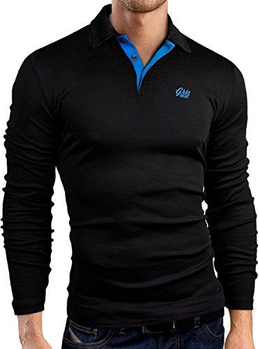 Grin&Bear Slim Fit kontrast Polohemd Poloshirt Polo, langarm, Schwarz-Blau, M, GB160 (Polo Kontrast)