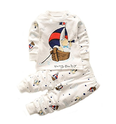 Bold N Elegant - Be Bold Inside & Elegant Outside Baby Boy's and Girl's Cotton Scooby Dooby Print T-Shirt Pant Set (White,12-18 Months)-Pack of 2