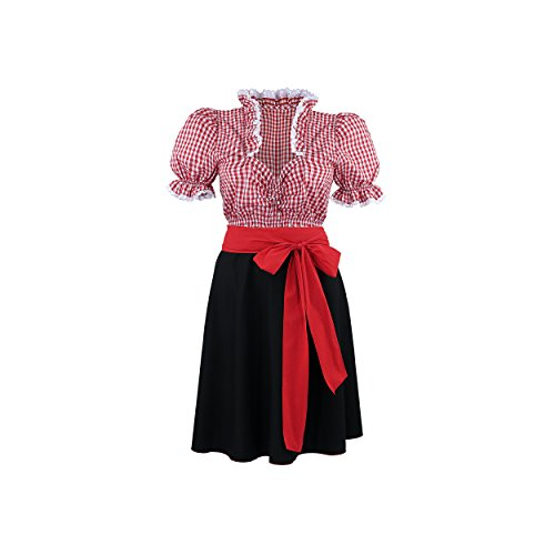 By Johanna Damen Dirndl Komplettset Trachten Dreiteiler Trachtenbluse Trachtenrock Schleife Bluse Rot Kariert Weiß Rock Schwarz Kurz