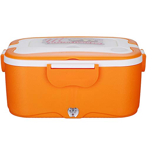 LJSHU Boîte à Lunch électrique Portable Alimentaire Rangement Vaisselle en Acier Inoxydable Liner Maison Voiture Grande capacité appropriée pour Les Travailleurs étudiants boîte à Lunch,Orange,220V