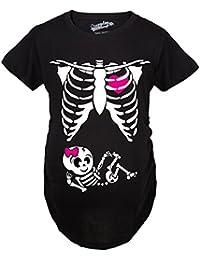 Crazy Dog T-Shirts Maternity Baby Girl Skeleton Cute Pregnancy Bump Tshirt (Black) - Camiseta De Maternidad