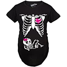 Crazy Dog T-Shirts Maternity Baby Girl Skeleton Cute Pregnancy Bump Tshirt (Black)