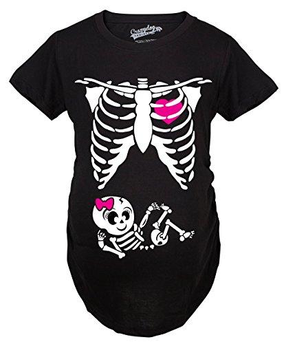 Crazy Dog Tshirts Maternity Baby Girl Skeleton Cute Pregnancy Bump Tshirt (Black) -3XL - Damen - 3XL (X-ray Lustige)