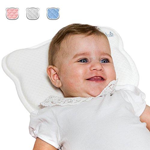 Orthopädisches Plattkopf Babykissen mit zwei entfernbar Bezügen beugt vor/heilt Plagiozephalie (Schiefschädel-Kopfform) | Babykopfkissen Koala Babycare - Perfect Head - Weiß