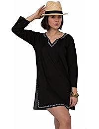 Gestickte Kaftan-Tunikakleid aus Baumwolle, schwarz
