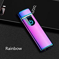 Wiber Rechargeable USB Electronic Lighter Windproof Touching Fingerprint LED Sensor Screen Double-sided Ignition Flameless Lighter for Candle, Cigarette