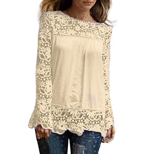 ESAILQ Mode Damen Langarm Shirt Casual Spitze Bluse Lose Baumwolle (4XL, Beige)