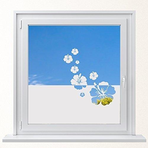 Lackiert Milchglas (DD Dotzler Design 6416-4 individuelle Sichtschutzfolie Fensterfolie Milchglas 8 x Hibiskus Blüten Blumen)