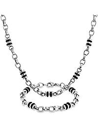 Bling Jewelry Collar y Pulsera para Hombre Conjunto Cadena Acero Inoxidable con Cuentas Negras de Forma Barril