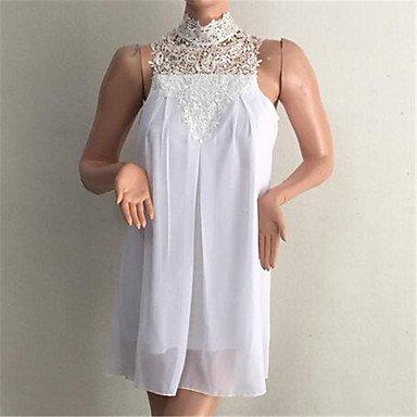 PU&PU Robe Aux femmes Mousseline de Soie Sexy / simple,Couleur Pleine Col Ras du Cou Au dessus du genou Polyester WHITE-S