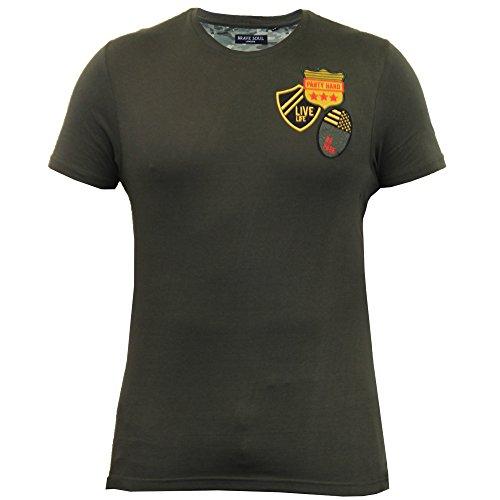 Herren T-shirt Brave Soul Patch Abzeichen Tarnmuster Militär Kurzärmeliges Top Neu Khaki - 69SLOGAN