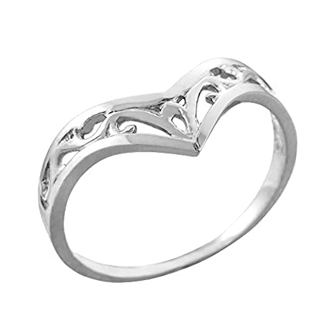Fine 10ct White Gold Filigree Chevron Ring for Women
