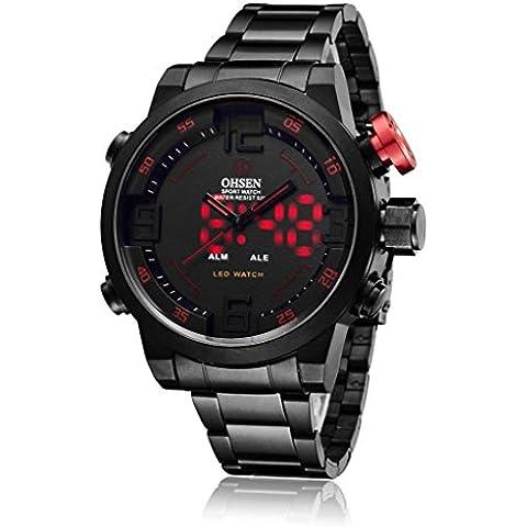 pkaty Mens Sport analogico digitale luce posteriore a LED Dual Time acciaio inossidabile polso Watch-Black