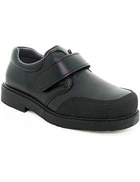 Zapatos Escolares para niño, de Color Negro, Cierre de Velcro y Puntera Reforzada