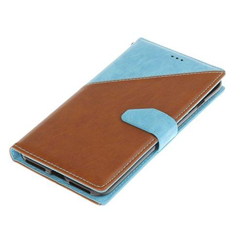 Voguecase® Pour Apple iPhone 7 Plus 5,5 Coque, Étui en cuir synthétique chic avec fonction support pratique pour Apple iPhone 7 Plus 5,5 (Noir-Blanc)de Gratuit stylet l'écran aléatoire universelle Marron-bleu clair
