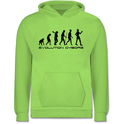 Shirtracer Evolution Kind - Cyborg Evolution - 9-11 Jahre (140) - Limonengrün - JH001K - Kinder Hoodie