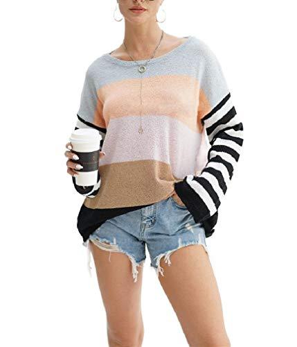 CuteRose Women Loose Sweater Splicing Stripes Dolman Sleeve Knitting Shirt Grey L -
