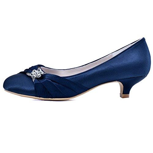 Elegantpark EP2006L Satin Plisse Strass Boucle Bout Round Femme Escarpins Chaussures a talon Bas Enfiler De Mariee Bleu Marine
