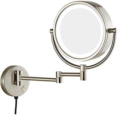 LQUIDE Make-up Rasieren Bad Kosmetikspiegel Led Beleuchtete Doppelwand Kosmetikspiegel 3X Vergrößerung, 360 Rotating Retractable Folding, D