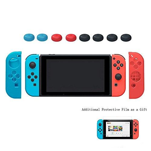 Nintendo Switch Hülle, Silikon Schutzhülle Tasche Cover Case Skin Silikon Hülle für Nintendo Switch + zusätzlich Eine Schutzfolie für Nintendo Switch Crystal Faceplates