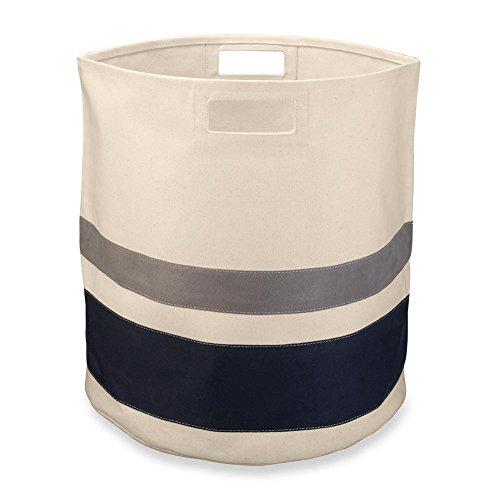 Levenger reinigen und modernes Zirkular gestreift Aufbewahrungs-Bin, large-natural/Navy Aufbewahrung und Organisation Produkt, Multi, groß (am3275nlnv LG) (Navy Papierkorb)