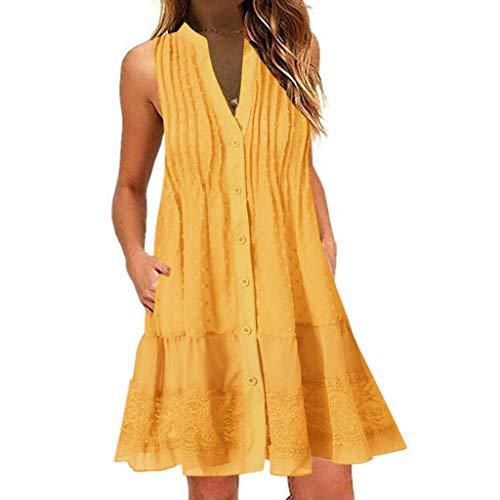 FeiBeauty Kleider Damen Sommer Boho V-Ausschnitt ärmelloses Minikleid Spitzen-Patchwork Strandkleid Mit Knopf Weiß, Blau, Pink, Khaki S-3XL -