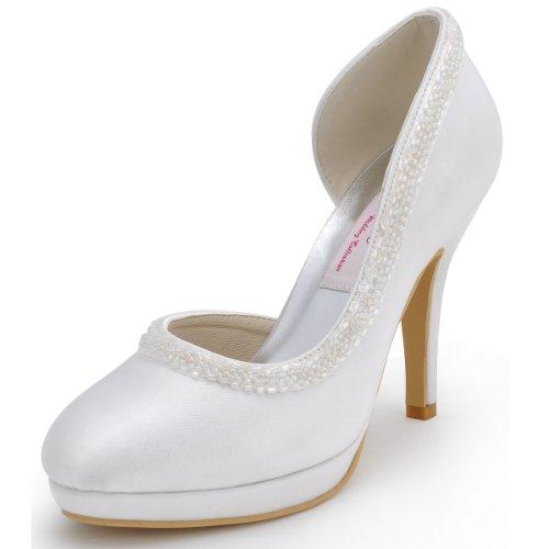ElegantPark EL-005C-PF Escarpins Femme Satin Bout Rond Strass Beads Plateau D'orsay Chaussures de mariee mariage Bal Ivoire