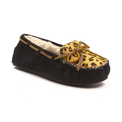 Minnetonka Leopard Cally 40160, Pantofole donna Black