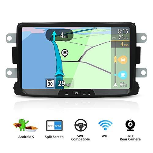 YUNTX Android 9 Autoradio Kompatibel mit Dacia Sandero/Renault Duster/Logan - 8 Zoll GPS mit navi Bluetooth - 2G32G / Dab+ / Lenkradsteuerung/USB/Carplay/WiFi/4G/MirrorLink (mit rückfahrkamera)