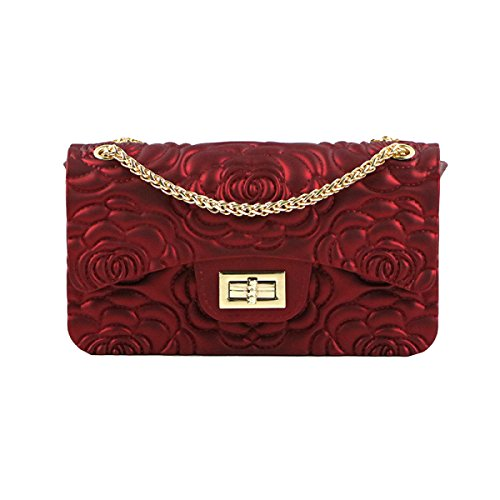 Borse PVC Di Modo Yy.f Grande Magia Di Rose Goffrata Opaco Smerigliato Sacchetto Della Gelatina Catena Tracolla Messenger 3 Colori Red