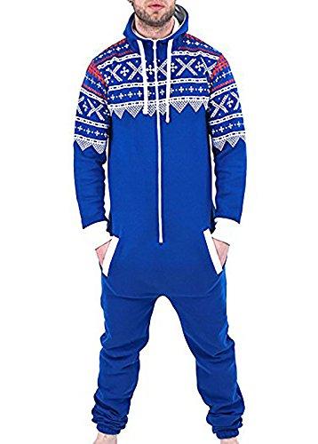une pièce onesie capuchon zip dames aztèque élégant sweat à capuche à capuche combinaison survêtement bleu aztech