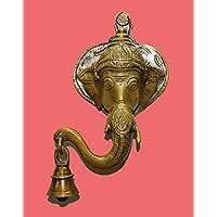 hashcart colgante de pared de Ganesha Estatua de latón con bell en aspecto antiguo para el hogar decoración/regalo
