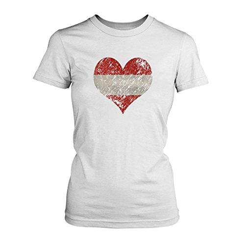 Fashionalarm Damen T-Shirt - I Love Austria   Fun Shirt Trikot mit Vintage Flagge Print für Fußball & Österreich Fans   Wandern Urlaub   EM & WM, Farbe:weiß;Größe:3XL