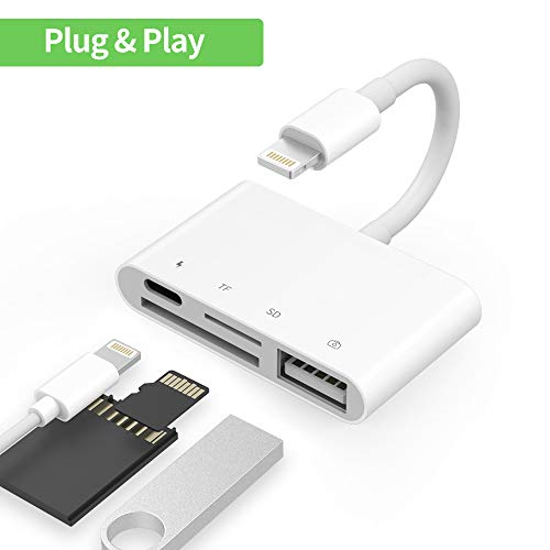 Kingone SD Kartenleser, 4 in 1 Lighting auf USB Camera Connection Memory Card SD/TF Card Reader Adapter with SD/TF Card Port for Phone iPad USB 2.0 Kamera Kartenleser Charging Port for Phone X/8/7