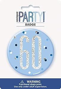 Unique Party 83523 - Insignia de cumpleaños, color azul y plateado