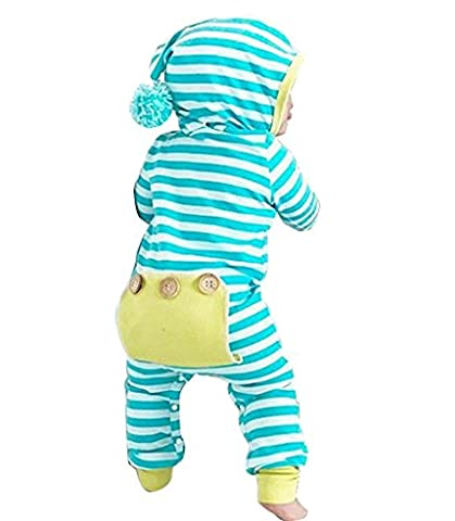Baby Boy Girl Clothes Long Sleeve Striped Hooded Romper Jumpsuit Blue,6-12 Months/90