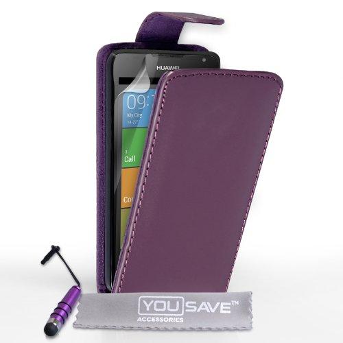 Yousave Accessories Schutzhülle aus PU Leder Flip Cover mit Mini Eingabestift für Huawei Ascend Y530–Lila