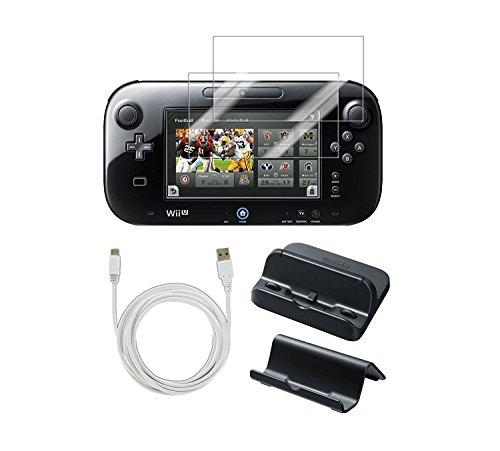 PEGLY USB-Ladegerät-Set mit Ständer für Nintendo Wii U Gamepad 5-in-1 Gamepad mit Halterung, Ladegerät, Displayschutzfolie und USB-Ladegerät, 3 m (Wii Halterung)
