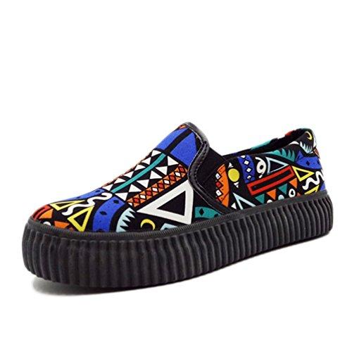 Qianliuk Frauen Canvas Plattformen Casual Schuhe gemischten Farben Wohnungen Höhe Erhöhung Atmungsaktive Schuhe (Lifestride Schuhe Wohnungen)