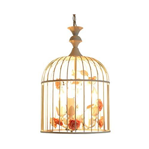 KISlink Kronleuchter für Vogelkäfig, Schmiedeeisen, kreativ, rustikaler Stil, weiß, Kronleuchter für Kleidung, Esszimmer, Treppe, Duplex (E14 x 3 / LED 3 W) -