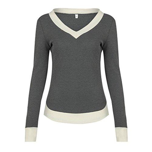 Damen Sweatshirt LUVERSCO V-Ausschnitt Lange Ärmel Beiläufig Kurve Saum Sweatshirt Frau Mode Oberteile (Grau, L) (Lange Schal Stricken Logo)